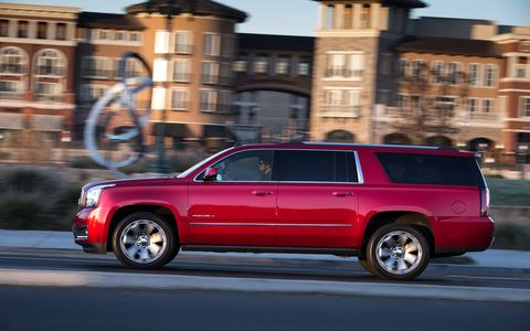 Our test 2015 GMC Yukon XL Denali received the optional touring package that added a power sunroof and a third-row DVD screen just to name a few.