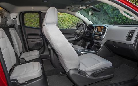 Colorado's seats are designed for long-haul comfort and wear, too. They use dual-firmness foam for greater comfort on long drives and high-wear, stain-resistant cloth seating trim.