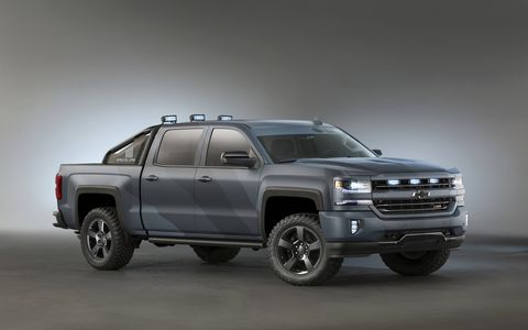 The SEMA custom Silverado Spe-Ops edition will see a production run. Some of the proceeds will go to the Navy Seals Museum and a few military charities.