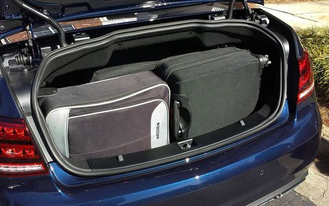 Trunk capacity in the E400 wasn't huge, but it was enough for a couple of roller bags and backpacks.