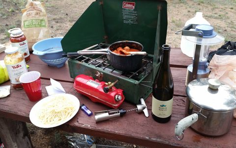 It's important to cook a pasta dinner at one's campsite when going to Pikes Peak.