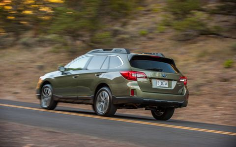 Our 2015 Subaru Outback 3.6R Limited tester received the optional moon roof package, keyless access, push button start, navigation and EyeSight.