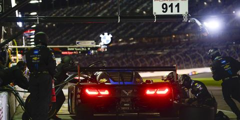Joao Barbosa drove the the No. 5 Action Express Racing Mustang Sampling Corvette DP to the lead at the Rolex 24 at Daytona. The car is co-driven by Christian Fittipaldi and Sebastien Bourdais.