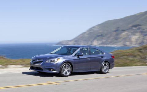 The 2015 Subaru Legacy 2.5i Premium comes in at a base price of $24,290 with our tester topping off at $25,785.