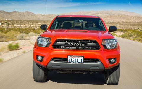 Our 2015 Toyota Tacoma TRD Pro Double Cab tester was packed with options including Bilstein shocks and 16-inch beadlock-style TRD alloy wheels.