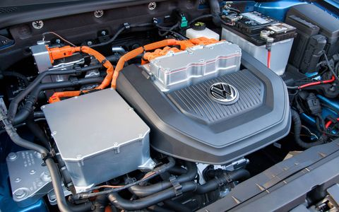 The electric only 2015 Volkswagen e-Golf SEL Premium's battery pack provides 83 miles between charges. (Limited model shown)