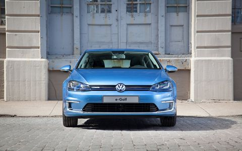 The 2015 Volkswagen e-Golf SEL Premium sits on the seventh-generation Golf platform.