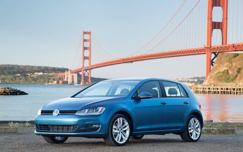 The 2017 VW Golf TSI has a turbocharged 1.8-liter underhood making 170 hp at 4,500 rpm and 199 lb-ft with the six-speed automatic, 184 lb-ft with the five-speed manual.