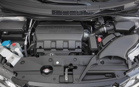 The 2015 Odyssey features a 3.5-liter, 24-valve V-6 engine producing 248 hp at 5,700 rpm and 250 lb-ft of torque at 4,800 rpm.