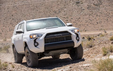 The Toyota 4Runner comes in several different colors, like the Super White shown here, but our model was Attitude Black Metallic.