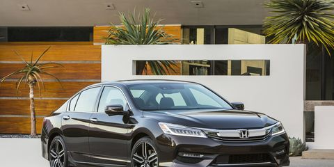 The 2016 Honda Accord in all its glory. In addition to the tech inside, the midsizer gets a modest facelift.