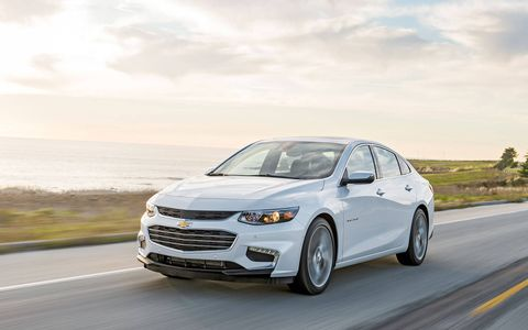 The Chevy Malibu comes with either a 1.5- or 2.0-liter turbo four. The hybrid gets a 1.8-liter with electric help.