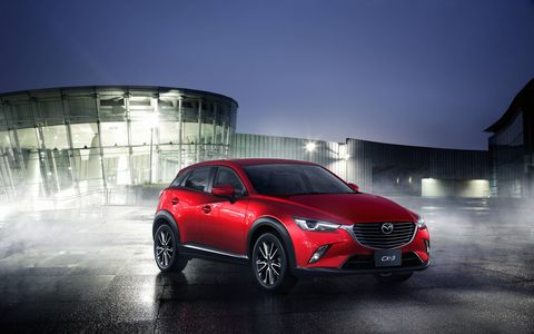 The CX-3 exhibits Kodo styling on a smaller, B-Class scale.