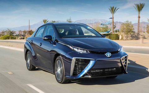 The Toyota Mirai can go 300 miles on a tank of hydrogen, Toyota claims.