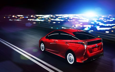 Prius is pretty style-heavy from the rear-three-quarter view.