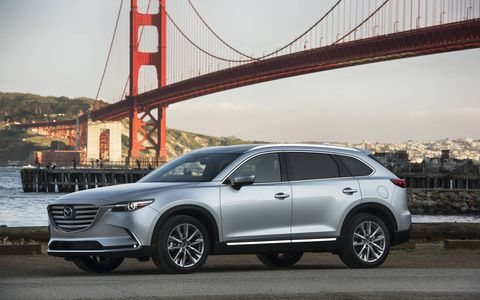 The 2017 Mazda CX-9 is a mid-size, three-row crossover SUV that caters to families with seating for seven.