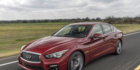 Photos from the 2016 Infiniti Q50 3.0t Red Sport first drive.