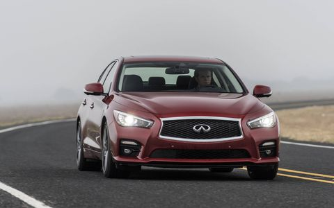 The 2017 Infiniti Q50 Red Sport comes with a twin-turbocharged V6 delivering 400 hp and 350 lb-ft of torque.