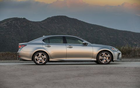 The 2017 Lexus GS200t pairs a 2.0-liter turbocharged four with an eight-speed automatic delivering 241 hp and 258 lb.-ft. of peak torque, the latter sustained from 1,650 rpm through 4,400 rpm.