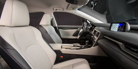The 2017 Lexus RX350 has a lowered rear floor providing a seating position comparable to that in the Lexus LS. Behind the rear seats, there's enough space to carry up to four large suitcases or multiple golf bags.