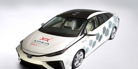 Toyota displayed its satellite enabled Mirai at the Detroit auto show.
