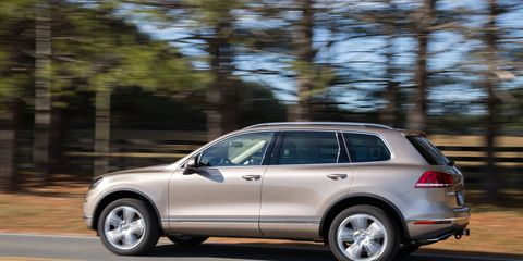 The 2016 VW Touareg VR6 gets 280 hp and 266 lb-ft of torque from its 3.6-liter V6.