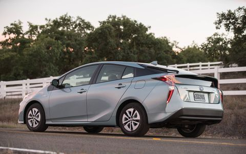 The Prius Three misses out on the heated seats, Homelink rearview mirror, and some of the safety features that are standard on the Prius Four.