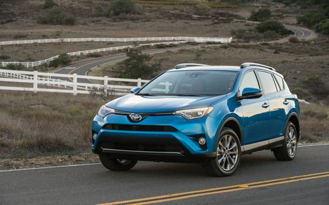 The RAV4 Hybrid gets 31 mpg on the highway with a 2.5-liter four and Hybrid Synergy Drive.