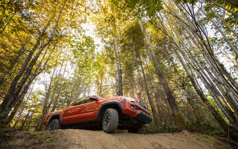 The 2017 Toyota Tacoma TRD Off Road has two-track chops thanks to Bilstein shocks and appropriate for the task suspension tuning