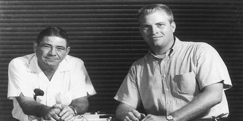 Vic Edelbrock Jr., right, poses with his father. Edelbrock Sr. began the automotive parts business that bears the family name in 1933.