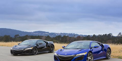 The NSX goes on sale this spring with 573 hp, 476 lb-ft, a nine-speed DCT and all-wheel drive.