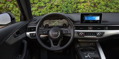 The 2018 Audi A4 is available with Audi's virtual cockpit and a full-color head-up display.