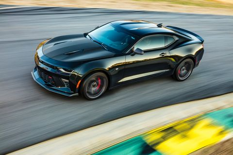 The new 1LE is a performance option package for V6 and V8 Camaros, with track-ready suspensions and grippy Goodyear Eagle F1s, with lateral acceleration over 1g on the V8-powered SS models and 0.97 on the V6s.