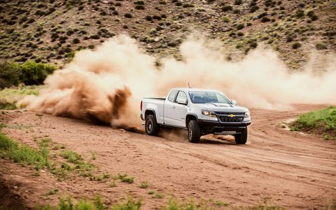 The 2017 Chevy Colorado ZR2's diesel makes 181 hp and 369 lb-ft of torque while returning 20 mpg in the city and 28 mpg on the highway.