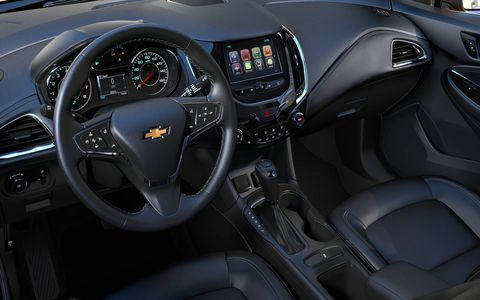 The 2017 Chevrolet Cruze hatch's interior is about the same as what you'll find in the sedan.