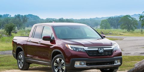 The 2017 Honda Ridgeline is the second generation of Honda's midsize pickup truck, redesigned to offer both recreational and work users a higher degree of utility and versatility.  It has a class leading maximum 1,584 pound (718.5 kg) payload capacity (varies by trim) and up to 5,000-pound (2,268 kg) towing (RT AWD).
