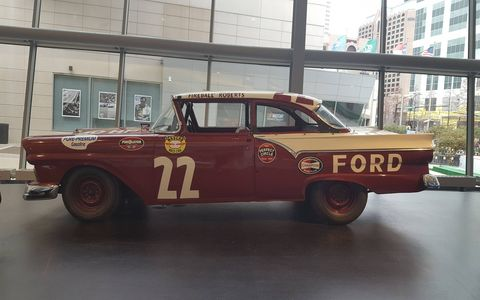 "In 1957, NASCAR Hall of Famer Fireball Roberts drove this car to eight NASCAR premier series victories, the most of his career. He started the season with the Ford factory team but assumed ownership of the car after Ford left the sport. Known as a ""zipper top"" for its removable hardtop, the car also led Roberts to a win in the NASCAR National Convertibles Division at Darlington Raceway."