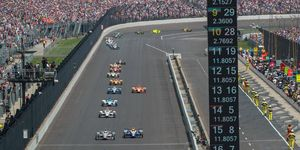 The Field of 33 take the green flag for the 2017 Indianapolis 500.