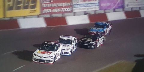 Austin Theriault edged Christian Eckes, Zane Smith and Riley Herbst to win an exciting ARCA race at Elko Speedway.