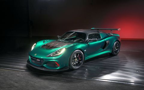 Lotus added 55 hp to the base Exige with a bigger supercharger and charge cooler.