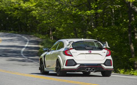 The 2017 Honda Civic Type R has a peak output of 306 hp at 6500 rpm and 295 lb-ft of torque between 2,500 and 4,500 rpm.