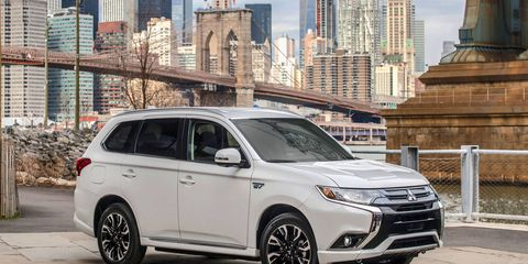 The Outlander PHEV gets two electric motors and a 2.0-liter gas engine.