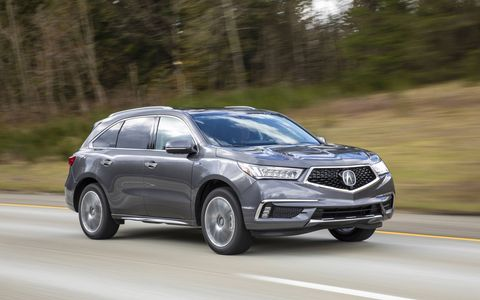 The 2017 MDX Sport Hybrid goes on sale in late April, early May, and gets 321 hp (+31 over the gasoline version) and 26 mpg city (45 percent over the gasoline version).