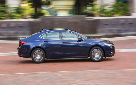 The 2017 Acura TLX has a 290-hp 3.5-liter V6 engine and gets 25 mpg combined.