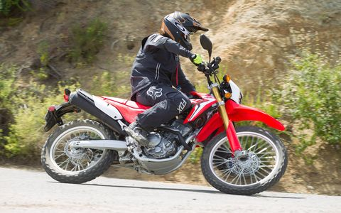 Honda's 250-cc dual-sport CRF250L and CRF250L Rally can handle on-road commuting as easily as they do off-road exploring. Both have a liquid-cooled single cylinder that makes enough power to get you out into the wide world but not enough to get you into too much trouble. And the price is only $5149. Perfect for beginner riders.