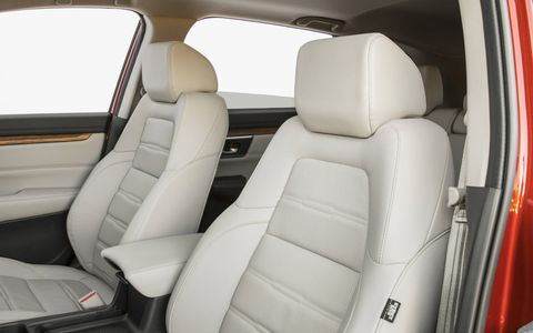 The 2017 Honda CR-V has an expanded 39.2 cubic ft. of cargo space behind the rear seats and a volume of 75.8 cu-ft. with the rear seats down to create a flat load floor that is 9.8 inches longer than in the previous model.