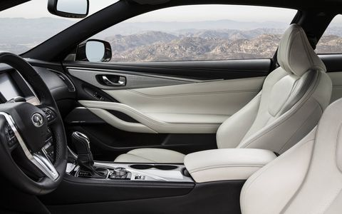 The 2017 Infiniti Q60 3.0T features a dual-screen infotainment system and a properly luxurious interior.