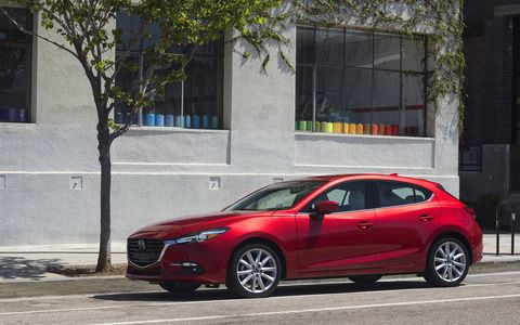 The 2017 Mazda 3 Grand Touring gets a 2.5-liter DOHC I4 making 184 hp and 185 lb-ft of torque.