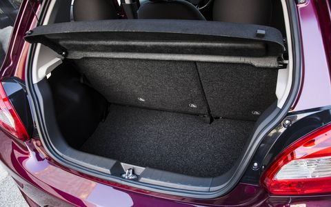 Cargo space is always a premium in sub-compact and compact cars. This Mirage seems to have a fair amount of space, but Mitsubishi hasn't released official measurements.