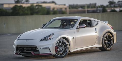 The 2018 Nissan 370Z Nismo comes with forged Rays wheels, an aero kit, Nismo tuned suspension and a 350 hp 3.7-liter V6.